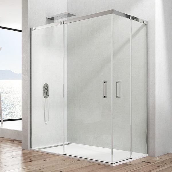 Mampara de ducha en esquina GME Temple 2.0 de acero inoxidable de dos puertas correderas