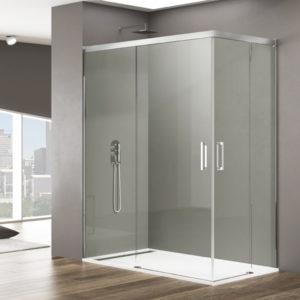 Mampara de ducha GME Basic angular corredera de aluminio
