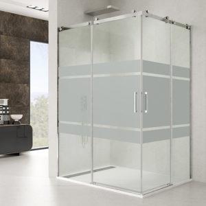 Mampara de ducha corredera GME Rotary de acero inoxidable