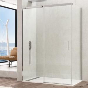 Mampara de ducha GME TEMPLE de acero inoxidable de una puerta corredera + lateral fijo