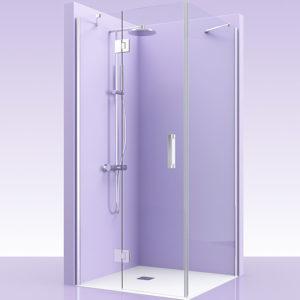 Puerta de ducha + lateral de cristal con bisagras de acero