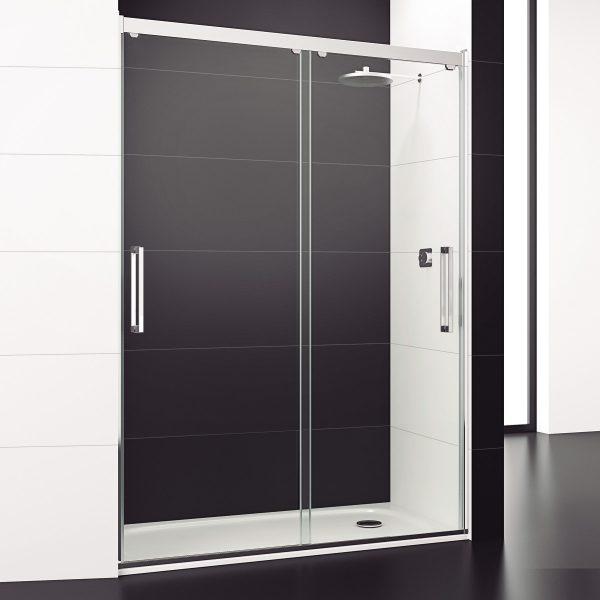 mampara de ducha de 2 puertas correderas de cristal para platos de ducha