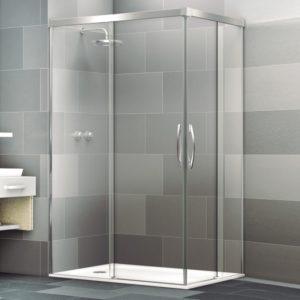 Mampara de ducha en esquina corredera