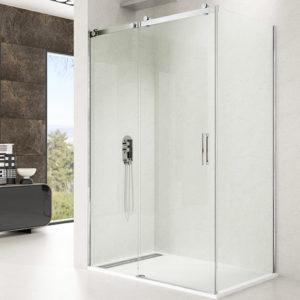 Mampara de ducha corredera + lateral fijo GME Rotary de acero inoxidable