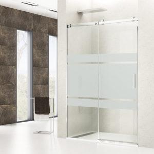 Mampara de ducha corredera GME Rotary de acero inoxidable FROST PLUS