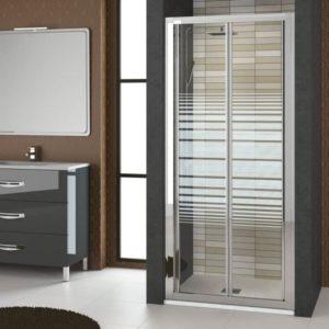 Mampara plegable de ducha de 2 puertas rayas