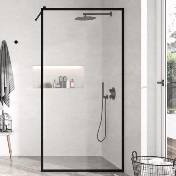 Mampara de ducha fija con marco negro Kassandra Fresh FR103