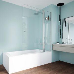 mampara de 1 hoja con parte fija de cristal para bañera