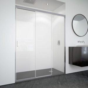 mampara de ducha 2 puertas correderas + 1 fijo