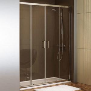 mampara de ducha corredera de 2 puertas de cristal