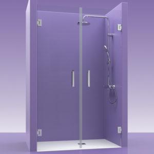 Puerta de ducha de cristal con bisagras de acero