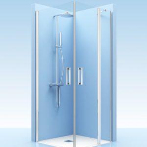 Puertas de ducha con fijo de cristal en esquina