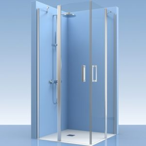 Puertas de ducha con fijos de cristal en esquina