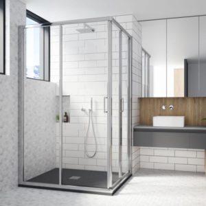 Mampara de ducha en esquina plegable y corredera