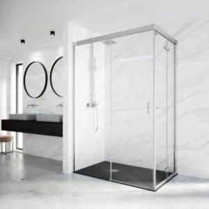 Mamparas de ducha para platos de ducha de esquina con sistema plegable y corredero