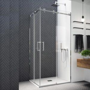 Mampara de ducha angular de alta calidad de acero inoxidable 304 y cristal de seguridad
