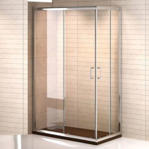Mampara de ducha cuadrada de puertas correderas de apertura en esquina