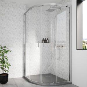 Mampara de ducha circular de esquina en cristal