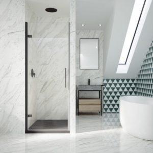 mampara de ducha 1 puerta abatible con bisagras y perfil a pared