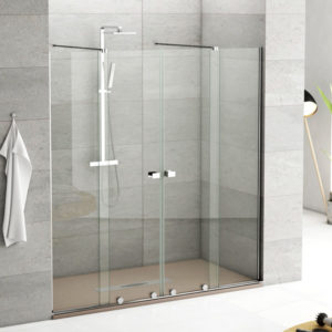 mampara de ducha de 2 correderas sin guia superior
