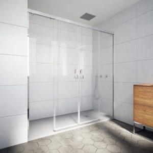 Mampara de ducha angular de alta calidad de acero inoxidable y cristal de seguridad