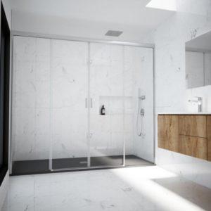 Mampara de ducha de 2 fijos y 2 puertas correderas centrales