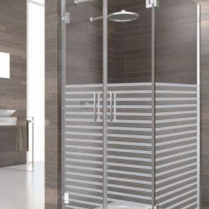 mampara de ducha de 2 puertas batientes de acero inoxidable