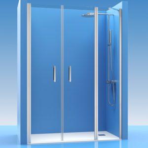 2 Puertas de ducha abatibles con 1 fijo