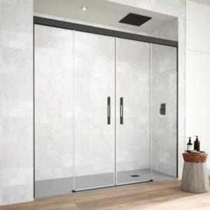 Mampara de ducha de 2 puertas corredera sin marco superior