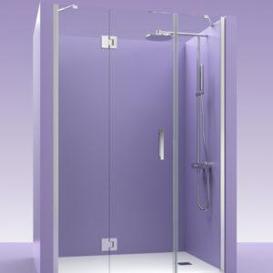 mampara de ducha de cristal con bisagras de acero