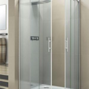 Mampara de ducha de esquina con puertas correderas y perfileria de aluminio y acero con cristal transparente