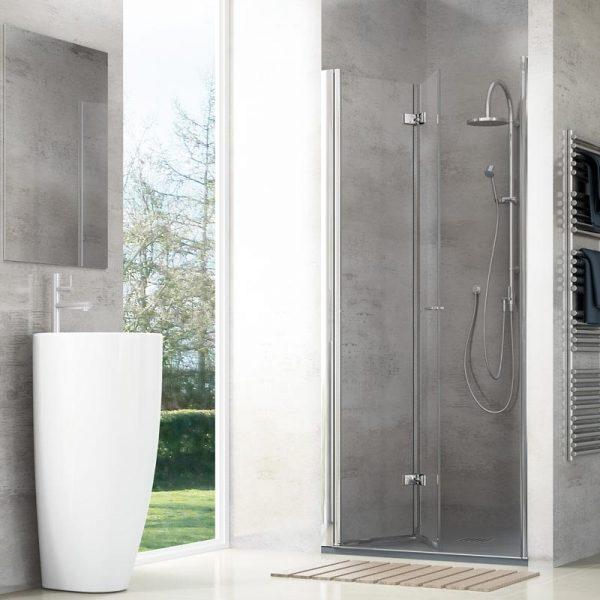 mampara de ducha keyles plegable 2 puertas con bisagras