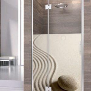 mampara de ducha de puerta con segmento fijo de acero inoxidable