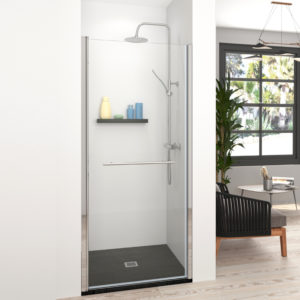 Mampara de ducha puerta con segmento fijo