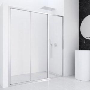 Mampara de ducha de 2 puertas correderas y una fija