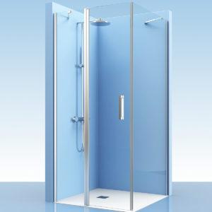 Puerta de ducha con fijo + lateral de cristal en esquina