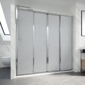 Mampara de ducha corredera de 2 puertas y 2 fijos acrilico