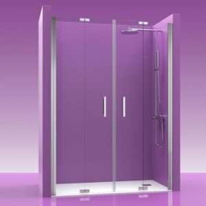 mampara de ducha plegable 4 puertas con bisagras acero inoxidable