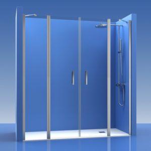 2 Puertas de ducha abatibles con 2 fijos