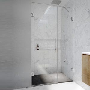 Puertas de ducha con fijo en linea de cristal con bisagras cromadas