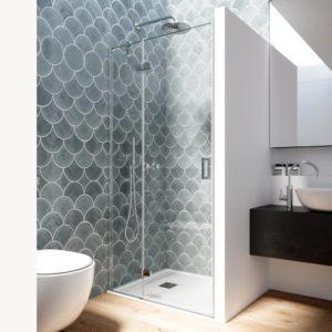 Mampara con puerta de ducha con bisagras