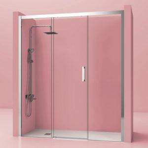 mampara de ducha 1 puerta corredera de acero inoxidable cristal 8 mm. antical con perfiles laterales acero