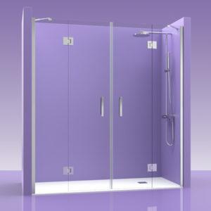 Puertas de ducha de cristal con fijos y bisagras de acero