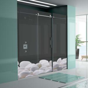 Mampara de ducha corredera de alta calidad de acero inoxidable y cristal de seguridad