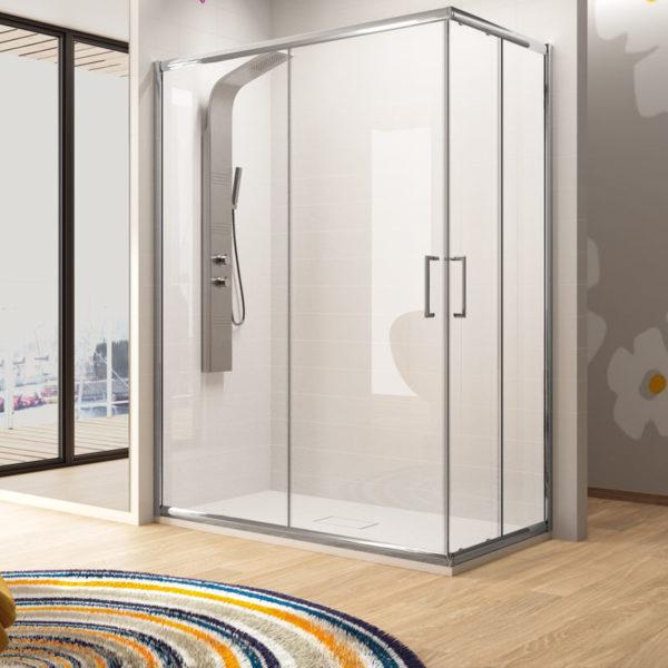 Mampara de ducha Kassandra Serie Bella BL 105 de esquina transparente