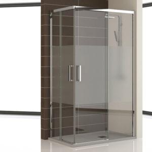 mampara de ducha en esquina corredera de 2 puertas correderas