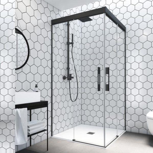 Mampara de ducha en esquina corredera sin marco superior