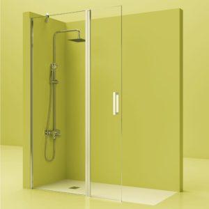 Fijo de ducha de acero inoxidable + puerta movil y cristal 6 mm.