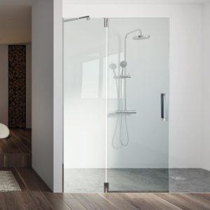Fijo de ducha de acero inoxidable con bisagras + puerta movil y cristal 8 mm.