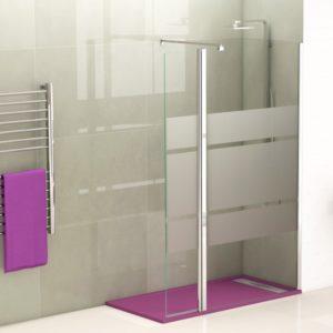 Mampara de ducha fijo con puerta abatible